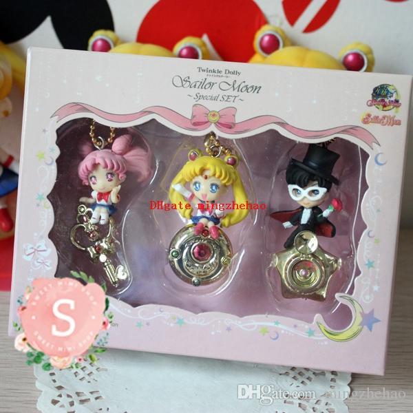3pcs Anime Sailor Moon Twinkle Dolly PVC Keychain Charm Figure Pendant 5cm