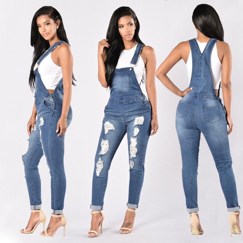 Women's With Holes In Their Straps Straigforward Tig Calf Jeans Rompers Womens Denim Jumpsuit Women's Summer Overalls