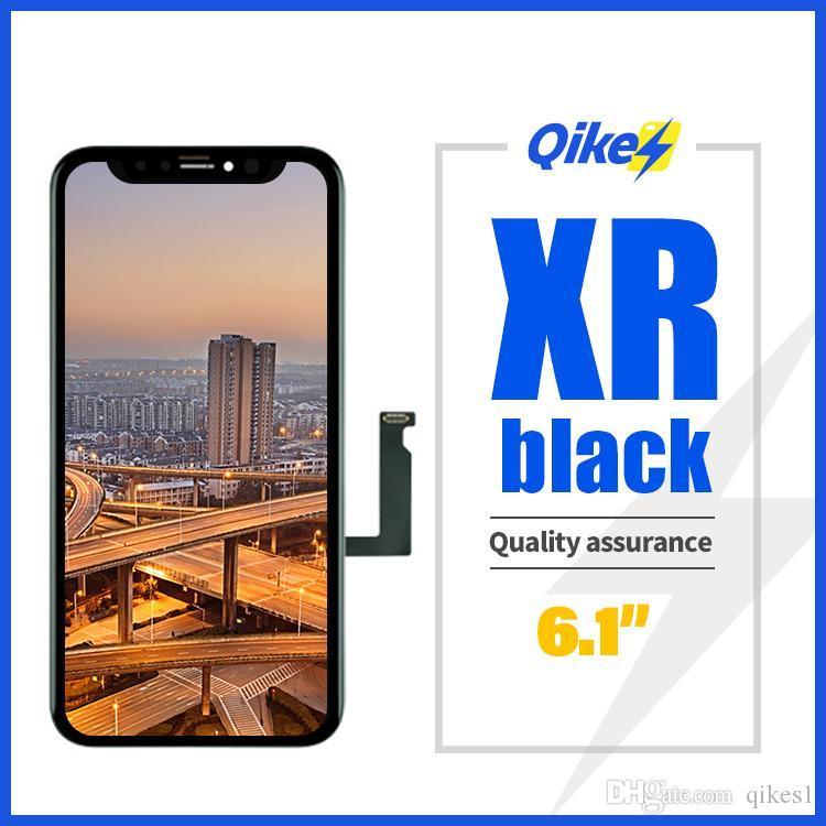 iphone XR için ucuz fiyat Siyah 6.1 inç Çizilmeye dayanıklı cep telefonu lcd yedek ekran