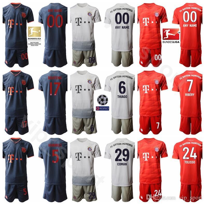 2020 Men Soccer 9 Robert Lewandowski Jersey Bayern Munich Set 25 MULLER 18 GORETZKA 7 DAJAKU 6 THIAGO 17 BOATENG Football Shirt Kits