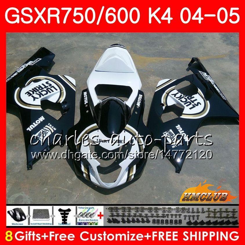 스즈키 GSX R600 R750 GSXR600 GSXR750 GSXR 600 750 04 05 7HC.83 행운의 검은 뜨거운 GSXR750 GSXR750 K4 GSXR600 04 05 2004 2005 페어링를 들어 키트