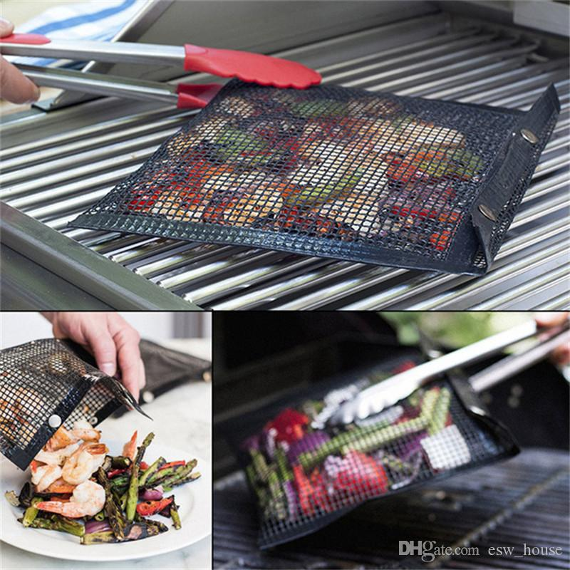 BBQ Non-Stick Mesh Grilling Barbeque Baking Reusable Meat Bag Outdoor Picnic US