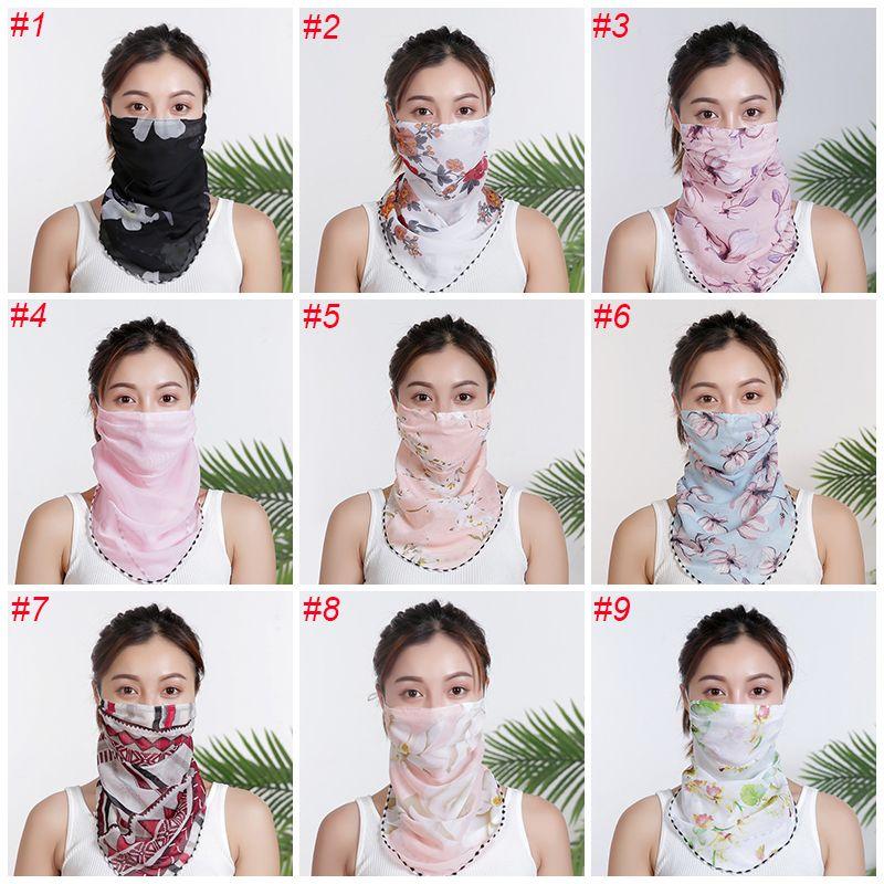 Moda verano de las mujeres de la bufanda de gasa de seda pañuelo al aire libre a prueba de viento de la media cara a prueba de polvo máscaras del partido de la sombrilla de la bufanda 18 colores