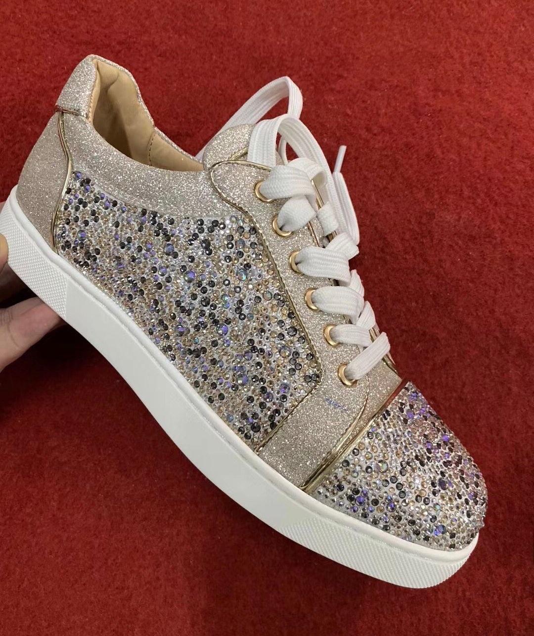 Popüler Genç Düşük En Vieira Strass Kırmızı Alt Sneaker için Erkekler, Kadınlar Casual Veau Kadife Lüks Markalar Casual Yürüyüş EU35-47