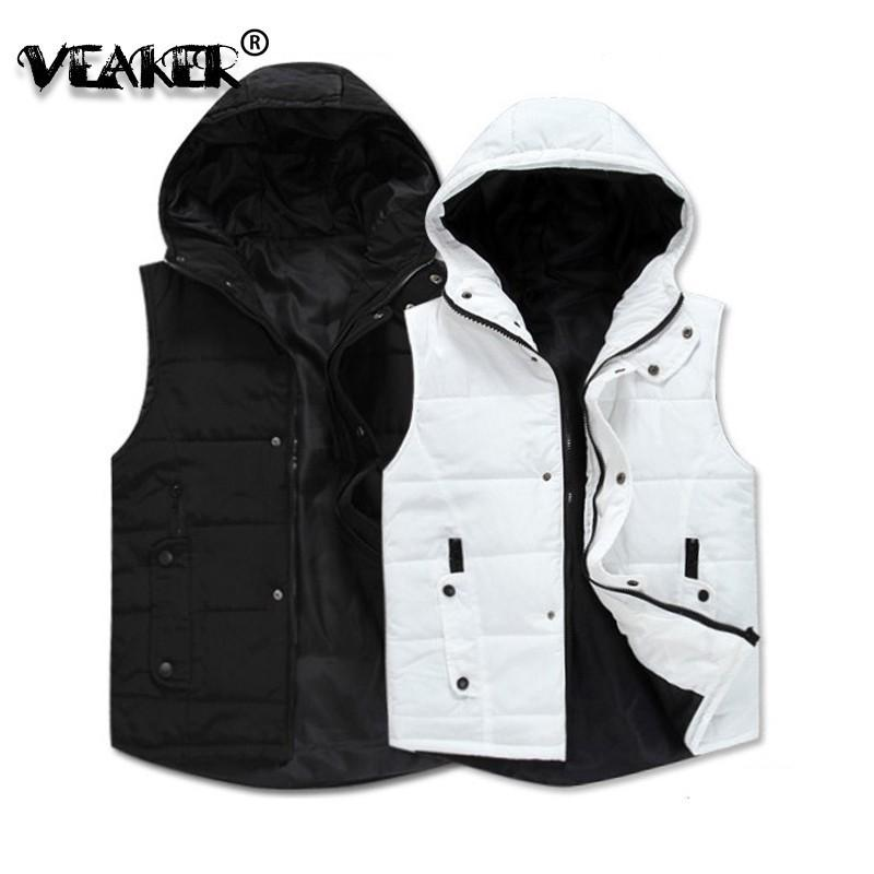 2018 Men's Jackets Vest Sleeveless Winter Casual Coat Hooded Jacket Thick Warm MEW Mens Vests Fashion Slim Fit Black/White Vest