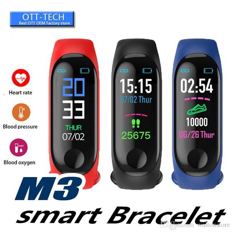 De fornecimento M3 Além disso inteligente Pulseira Heart Rate Monitor inteligente pulseira relógio de Fitness Rastreador inteligente banda com a Correias de substituição