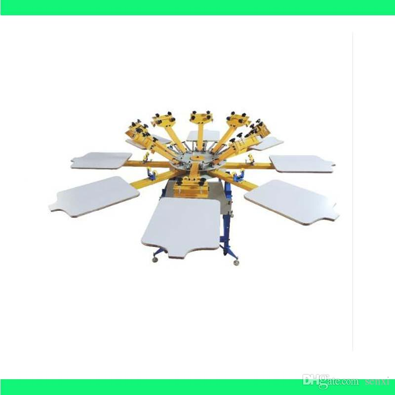 جودة عالية 8 لون 8 محطة آلة طباعة الشاشة الصحافة معدات طابعة تي شيرت كاروسيل