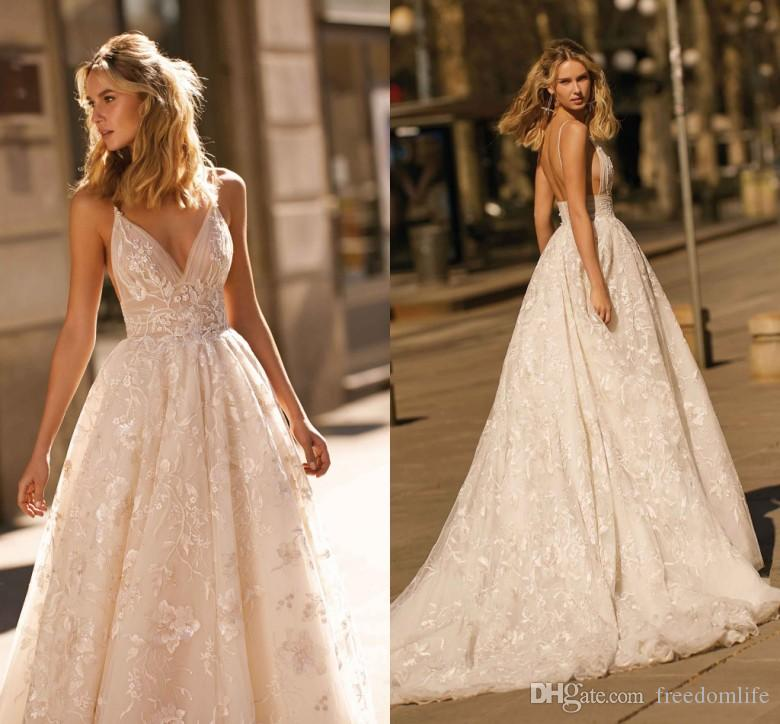 New Design 2020 Berta Wedding Dresses Lace Applique A Line Spaghetti Straps Backless Bridal Gowns Custom Made