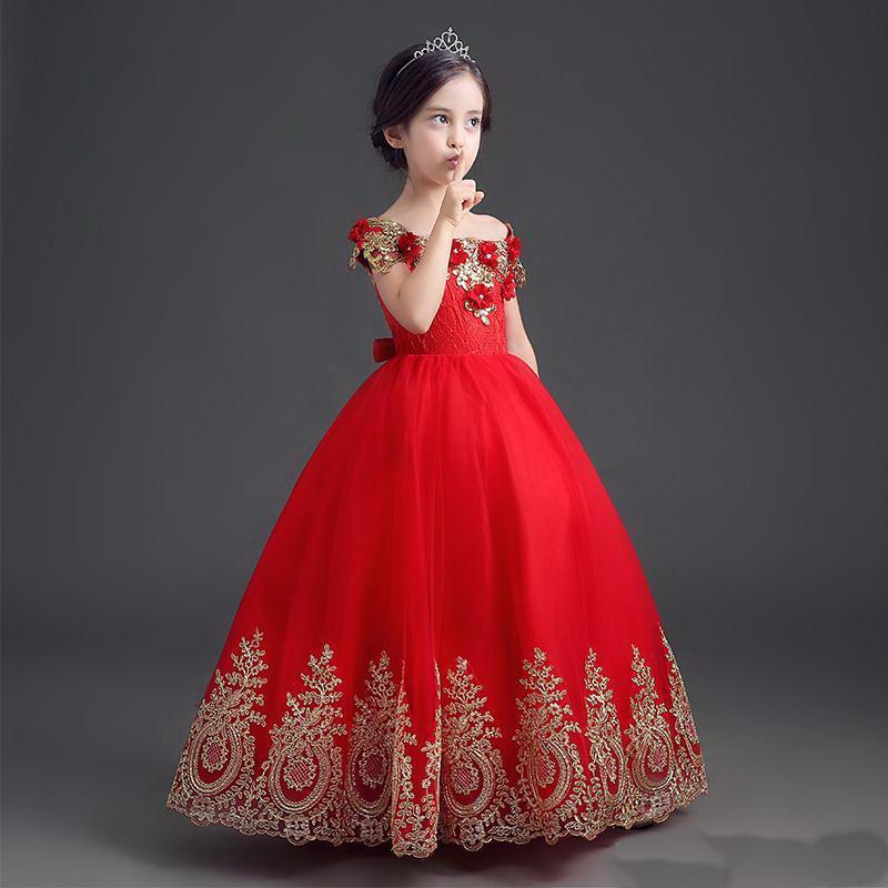 Formal Formal Comprimento Flor Menina Vestido Menina Longo Princesa Brithday Applique Ball Vestido Crianças Vestidos