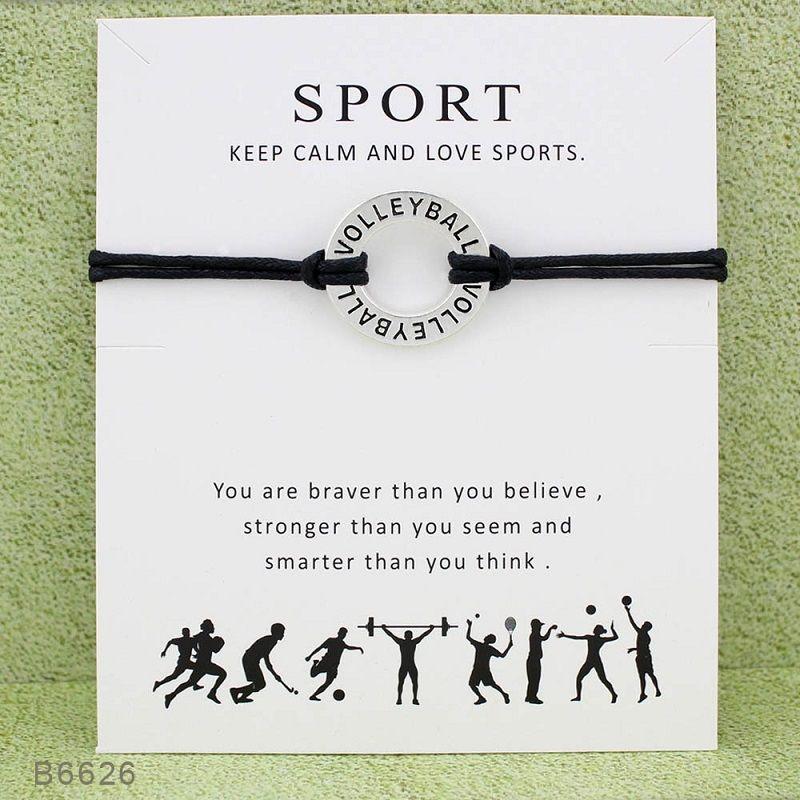 حبل الكرة الطائرة SPORT اليدوية أساور سحر لبيان النساء الرجال الصداقة أفضل أتمنى سوار مجوهرات هدية مع بطاقة