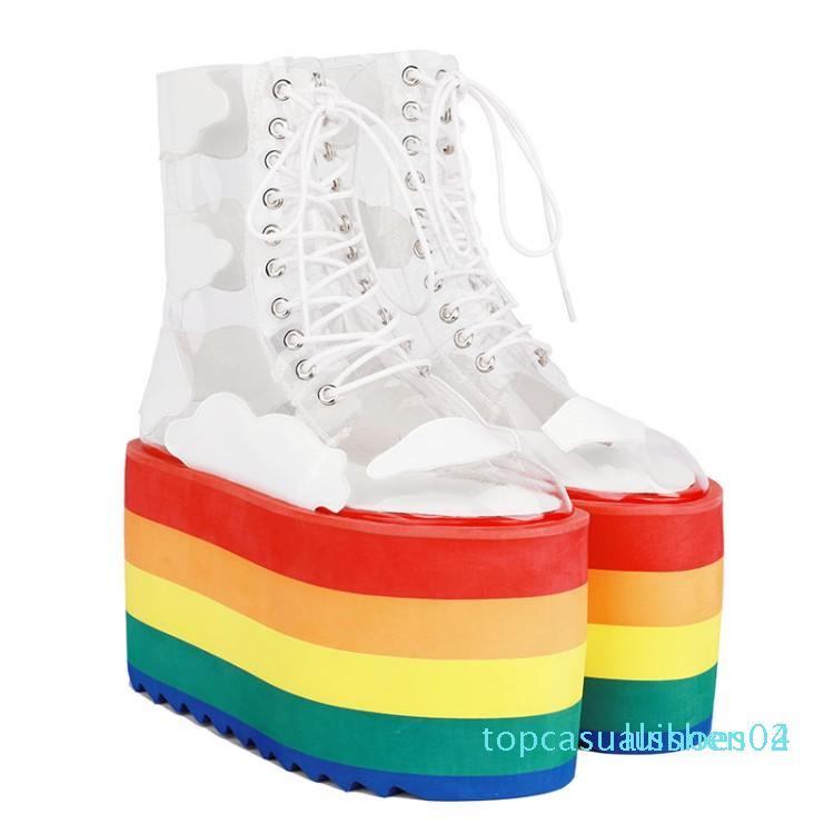 Runway Scarpe arcobaleno di colore della caramella dei calzini Boots zeppe altissime piattaforma trasparente Stivaletti PVC trasparente Lace Up crescente Shoes T04
