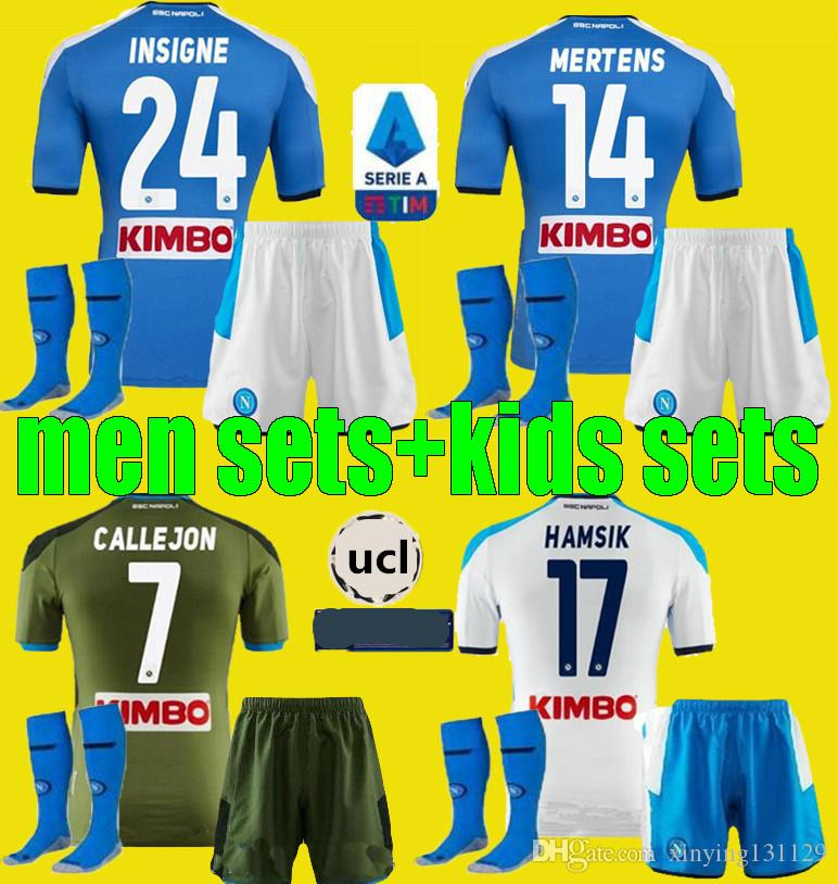 19 20 hommes maillots de football enfants Napoli Kits 2019 2020 3e Naples Maillots enfant adulte sets de HAMSIK L.INSIGNE PLAYER shirt de football