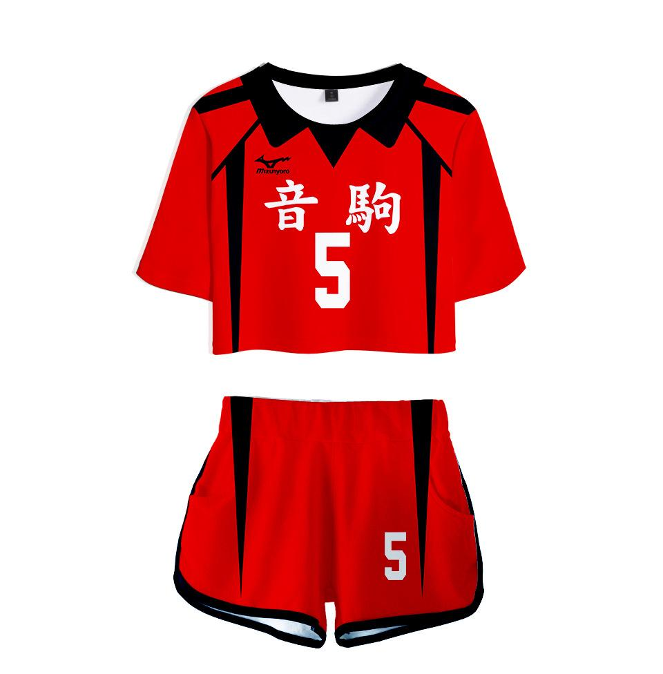 Anime Haikyuu cosplay costume Nekoma lycée Volleyball Club Kozume Kenma Kuroo Tetsurou deux pièces Ensemble Femmes Tops et Shorts