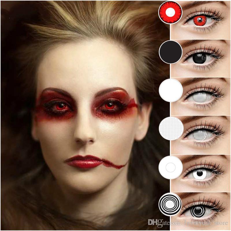 2 Stück / Paar Halloween Cosplay Farbige Kontaktlinsen für Augen kosmetische Kontaktlinsen Augenfarbe Jahres Verwendung