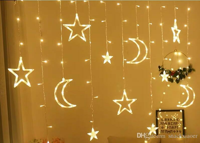 3.5M Moon Star ha condotto le luci della stringa della tenda ghirlande di natale ghirlande luci di festa per la decorazione della festa nuziale Natale luce ghirlanda di Natale