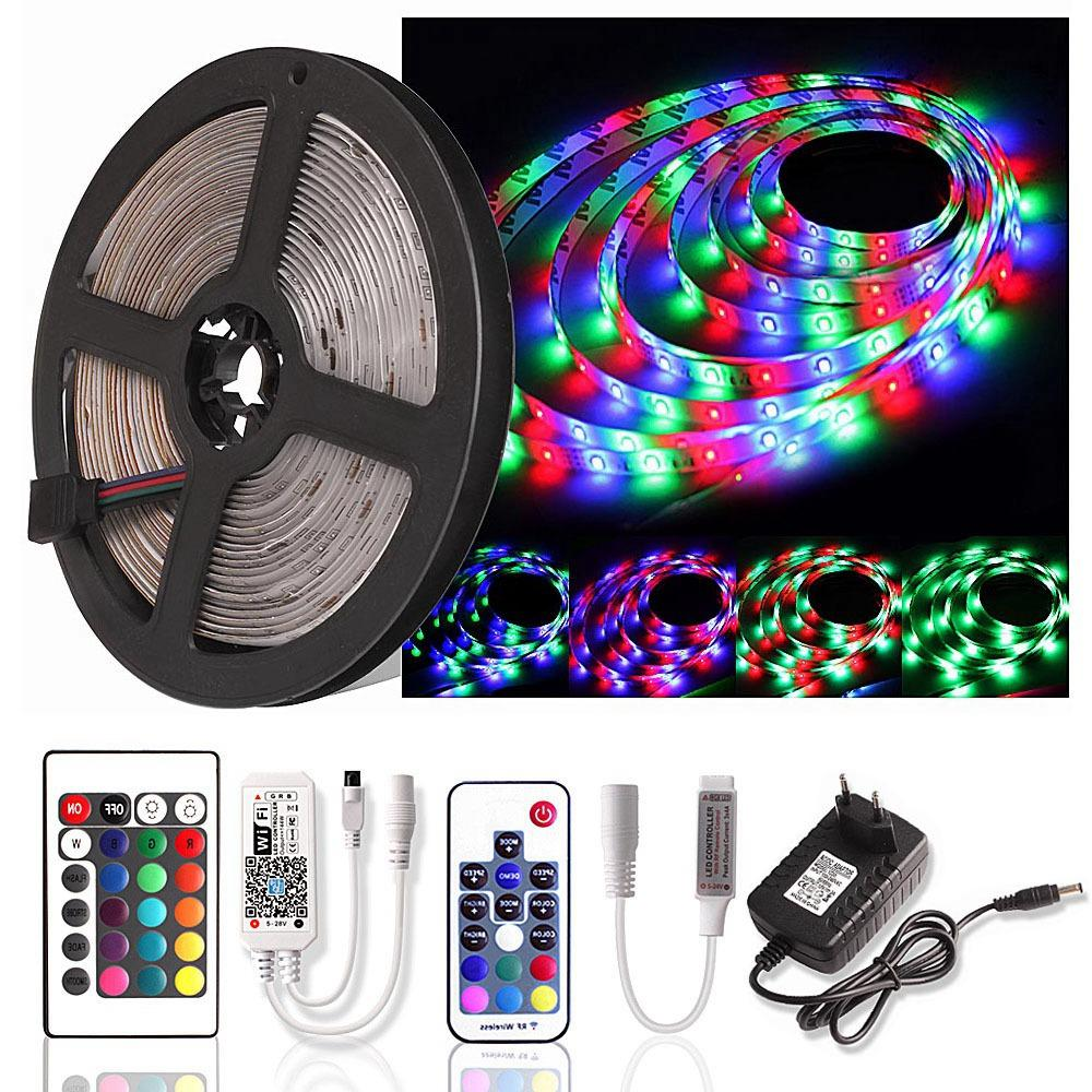 RGB LED Strip Light WiFi SMD 2835 DC 12V 5M Waterproof 60 LEDs/m Ribbon LED Lamp Diode Tape RF Remote Controller + Power Adapter