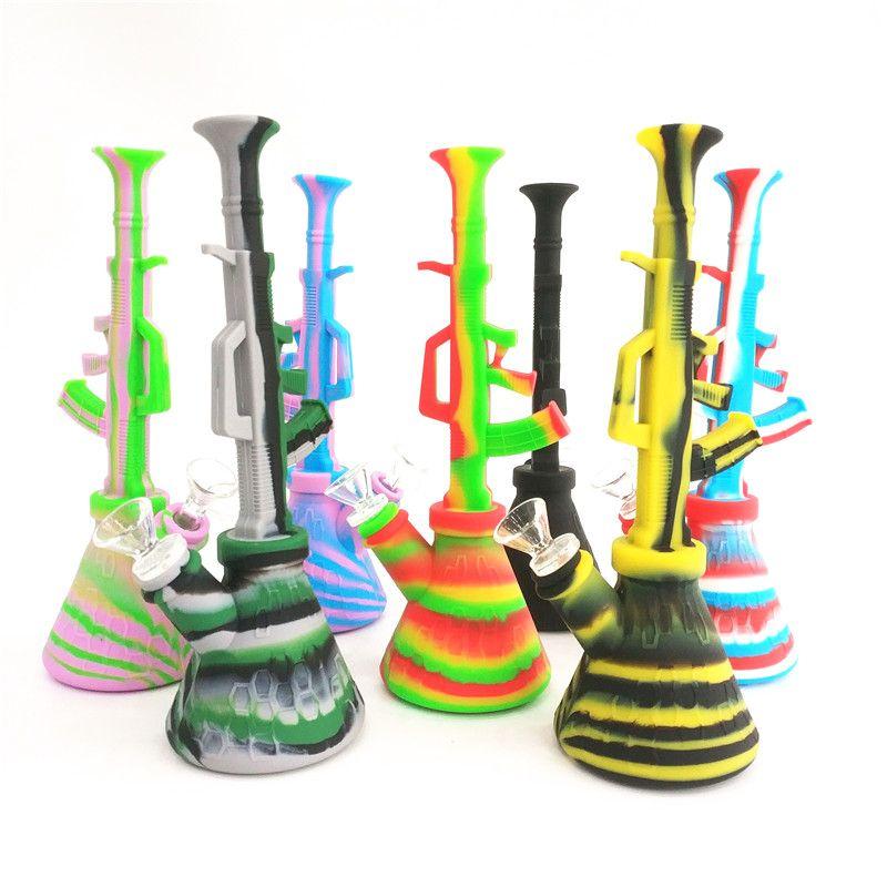 Beher silikon bong boru kulesi 10.6 '' ak47 nargile nargile kırılmaz silikon sigara su borusu 14mm Ortak Cam setleri bubbler wate