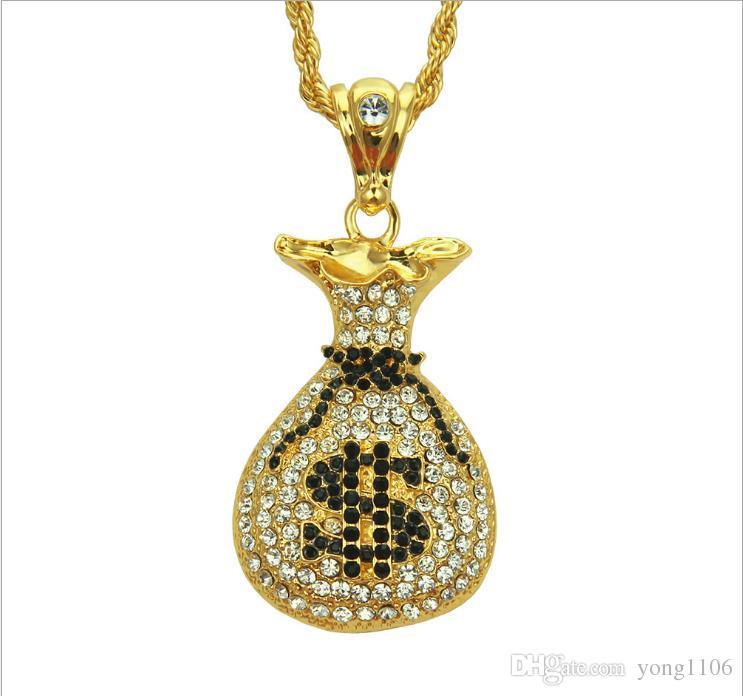 Tendencias europeas y americanas de moda venden negro collar de diamantes bolsa de dinero, joyería collar de la boutique de los hombres de hip-hop