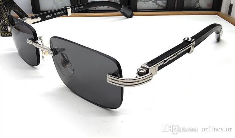 Lunettes óculos de sol de madeira pretas para mulheres clássico óculos Wood Buffalo sol moda esportes dos homens para homens sem aro vêm com caixas