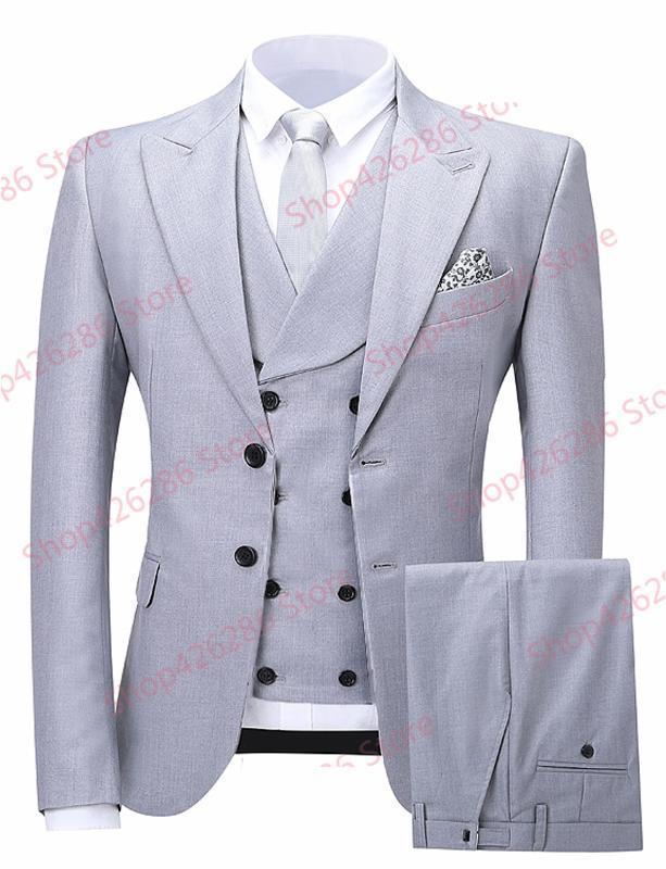 Uomo Slim Fit vestito reale Immagine 3 pezzo conferisce al rivestimento Pantaloni sposo bello Wedding Blazer Imposta partito convenzionale dello smoking Costume Homme