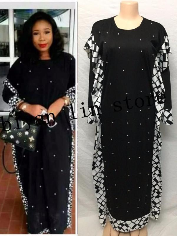 Vêtements ethniques Dress Longueur: 140cm. Buste: 96cm ~ 116cm.2021 Fashion Bazin d'élasticité africaine avec perles Style Dashiki manches longues Robes célèbres1