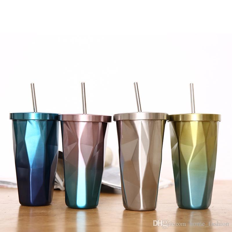 4 Colores 500 ml Nuevo Llegada Anómalo Taza de Viaje de acero inoxidable Botellas de agua Cerveza Tazas de café con pajita para tazas