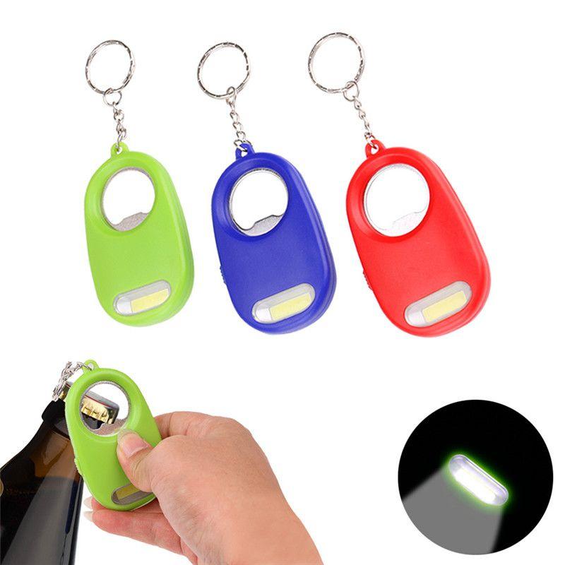 Mini 2 In 1 LED Flashlight Bottle Opener Keychain Light Portable Keyring Torch Key Chain Emergency Camping Lamp H4551