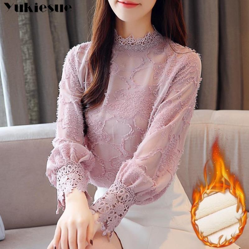 moda donna camicette 2019 inverno spesso del merletto della camicia più le donne camicetta chiffona top a manica lunga blusa wome camicie Blusas Y200402