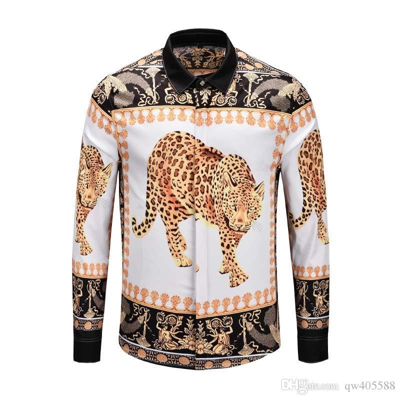 2019 men's shirt spring and autumn designer Medusa men's printed dress Slim men's shirt black printed casual business shirt