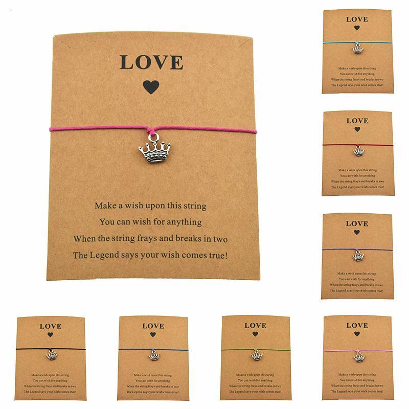 Handmade Love Card Jewelry Wax Cord Adjustable Bracelet Gift For Women Lover Girls Silver Princess Crown Charm Bracelets
