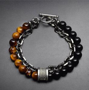 Европейский и американский натуральный камень мужской браслет из бисера цепи двойной браслет