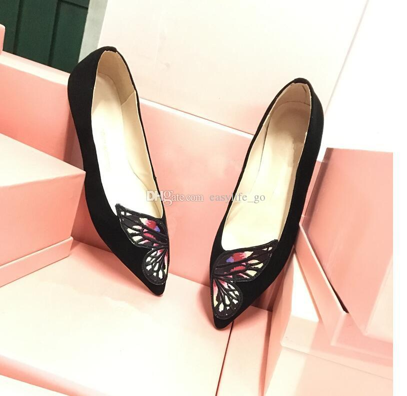 Sıcak satış Kadınlar Işlemeli Kelebek Katır Kadın rahat ayakkabılar Bibi Flats Sivri Burun Loafer'lar Sophia Webster