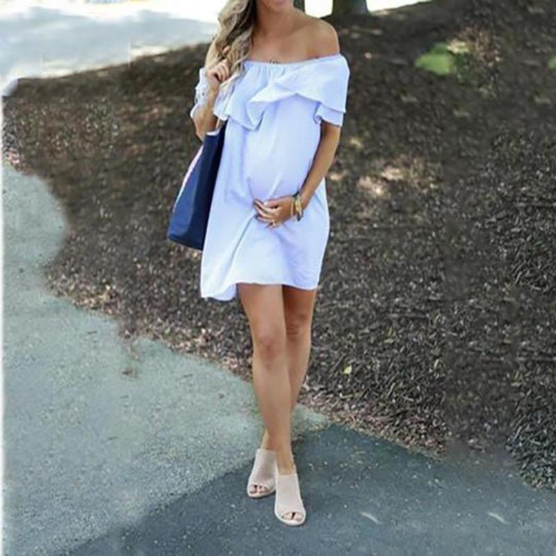 Vestido de boda del hombro mujeres blancas vestido de maternidad de maternidad del verano Off Embarazo sólido Vestido de tirantes Robe Grossesse