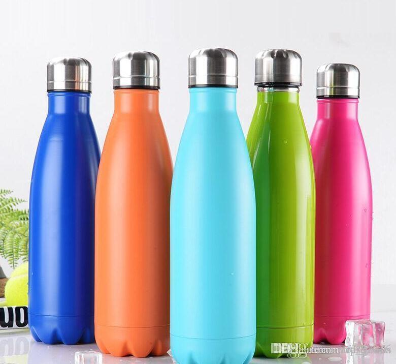 12 cores Cola Em Forma de garrafa de água Garrafa de Água de Viagem Isolada A Vácuo Dupla Parede de aço inoxidável forma de coque Garrafa De Água Ao Ar Livre