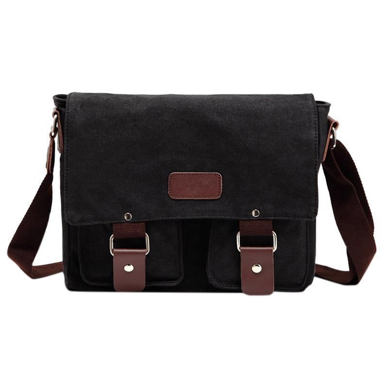 Fashion Man Soft Canvas Messenger Bags Casual All-match Solid Color Retro Crossbody Shoulder Bag Christmas Gifts