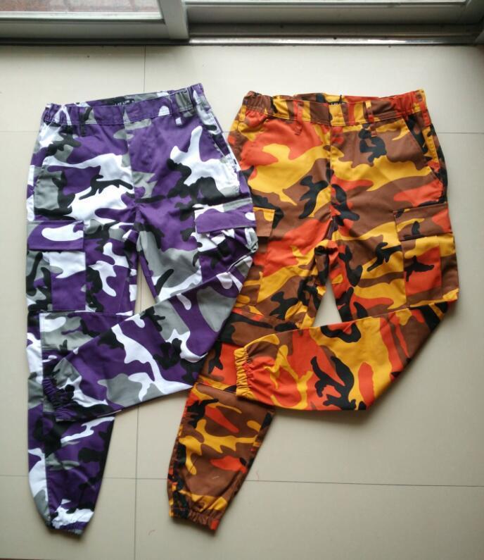 Оранжевый камуфляжные штаны для мужчин и женщин Sweatpants Фиолетовый Розовый Серый Camo Брюки Брюки Cargo Pant Streetwear Hip Hop Гарем Jogger T200219