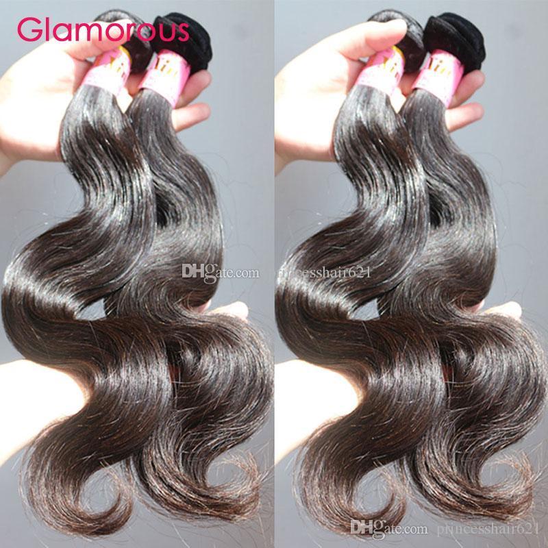 """Glamour de qualité supérieure vierge cheveux brésiliens tisse 5pcs / lot 8 """"-34"""" Plein Cuticle Dyable Peruvian Indian Malaysian Remy Cheveux humains"""
