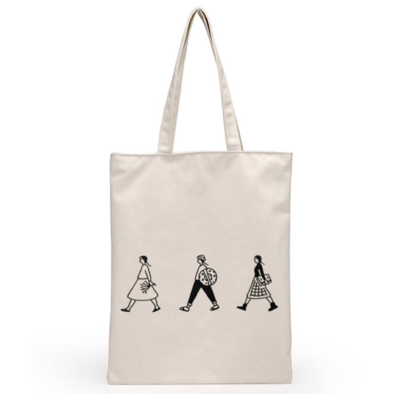 Saco de compras reutilizável Eco Tote Canvas Travel Women Folding Shoulder Shopping Shopper Bags