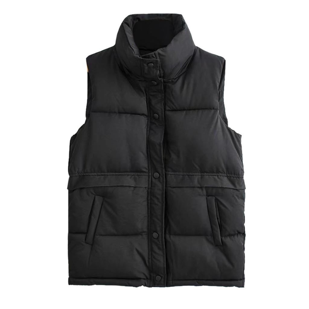 여성 고체 짧은 겉옷 여성용 조끼 재킷 코튼 민소매 조끼 여성 포켓 느슨한 캐주얼 2,019 조끼 코트 스탠드