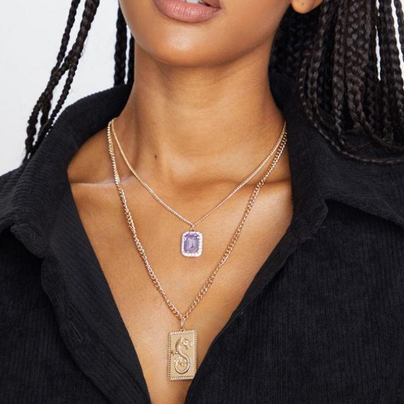 Новая мода площади Фиолетовый Двойной ожерелье геометрическое заявление для женщин ожерелье сплава ручной работы для прополки партии
