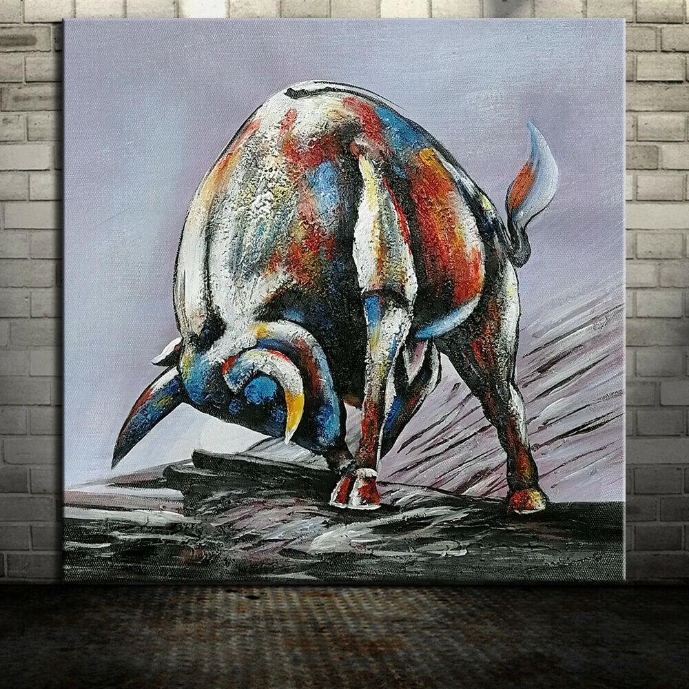 -1-0061 # -оснащенного Unframed «Могучий бык» Домашний декор ремесла / HD печати Картина маслом на холсте Wall Art Холст Pictures 200