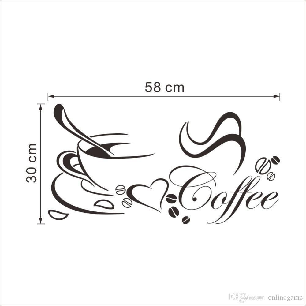 DIY Removable Home Kitchen Decoration Coffee Cup Decals Vinyl Wall Art Stickers