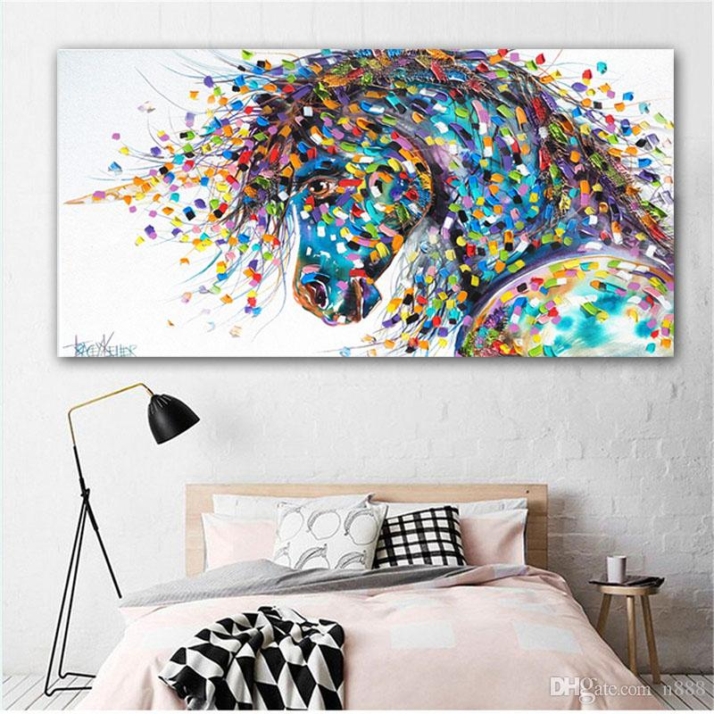 ART Canvas Horse Oil Painting On Canvas Abstract Colorful Animal Pictures For Living Room Decoration Wall Art 191005
