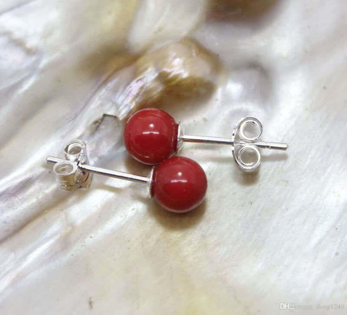 8MM Red Coral Round Beads 925 Silver Stud Earring Y4408