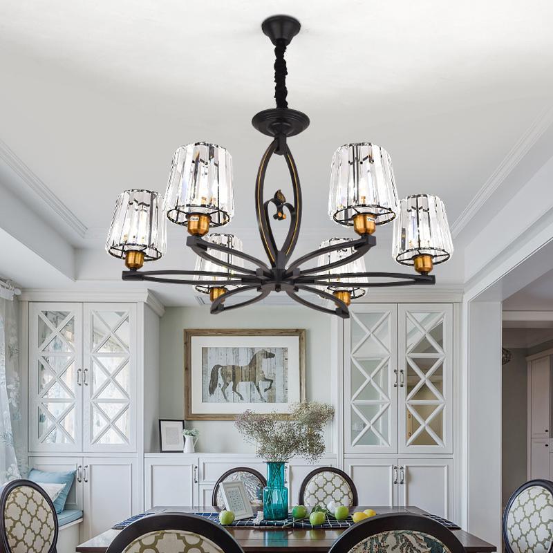 lumières lustre en cristal pour salon chambre salle à manger American vintage de luxe lampes suspendues rétro éclairage pendentif noir