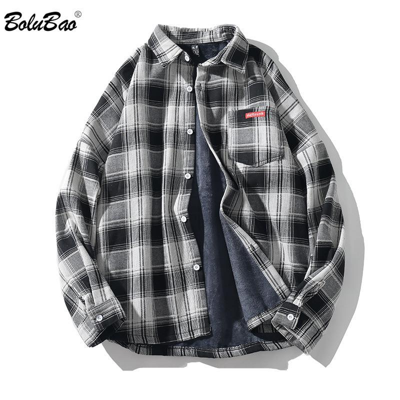 de BOLUBAO Casual Marca Men Plaid Shirts Autumn New Men além de veludo de mangas compridas Quente Camisa japonesa retro lapela camisa Tops Y200408