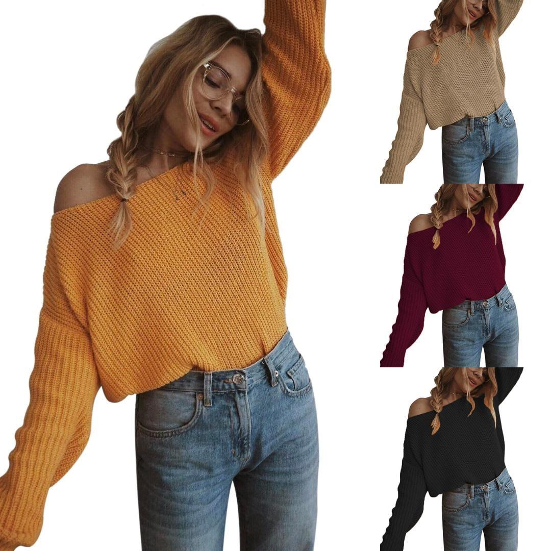 pull off épaule femmes pull femme pull en tricot à manches longues cavaliers en vrac surdimensionné femme pull taille plus 5XL