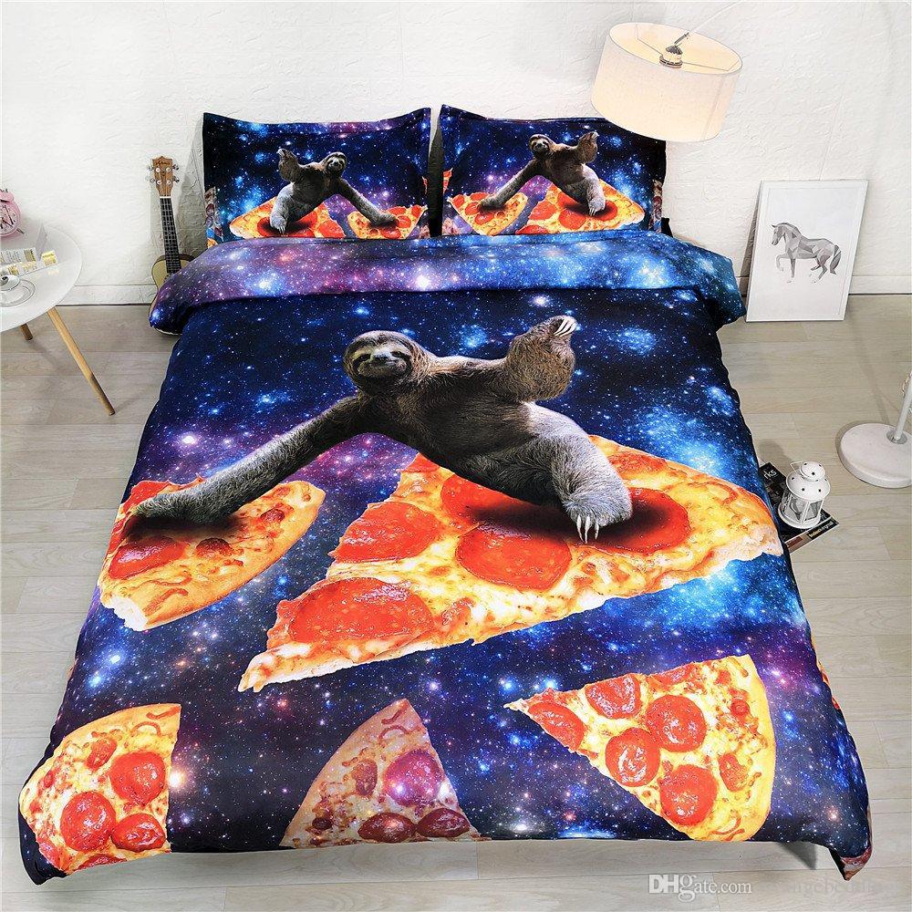Preguiça Cama Galáxia Galáxia Azul Bed Set Roxo Galaxy Capa de Edredão Twin Colchas Completa Pizza Azul Marinha Espaço Decor Adolescente Colcha Cobertura