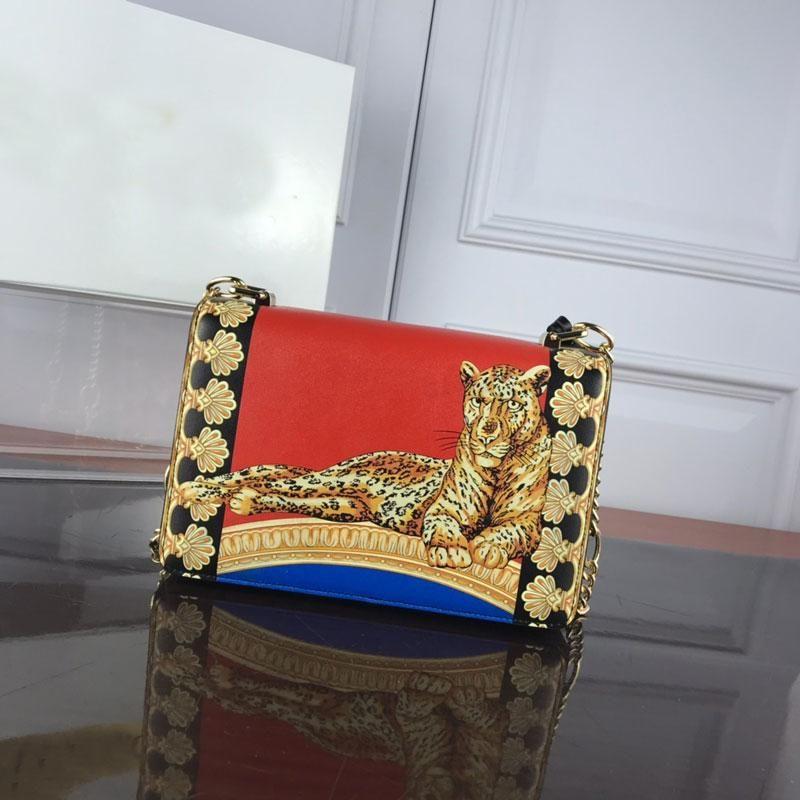 Çanta Çantalar Çanta Medusa Zincir Zincir Tek Omuz Deri Lady Küçük Kare Çanta Baskılı Karşıt Renk 787