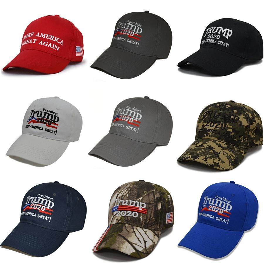 Kamuflaj Donald Trump Şapka Usa Bayrak Beyzbol Cap tutun Amerika Büyük 2020 Şapka 3D Nakış Yıldız Harf Kamuflaj Ayarlanabilir Snapback Ffa1850 # 930